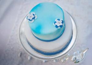 Kuchenkönigin Blue Bird Cake Torte Hochzeit Kuchen Blau Maritim Blüten Weiß Silber Vogel
