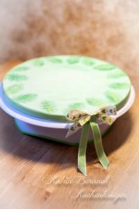 Kuchenkönigin Cake Board Dschungel Blätter grün Tutorial