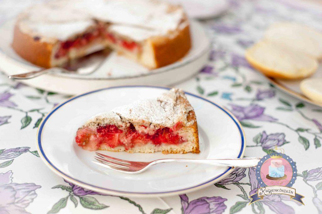 Kuchenkönigin Rhabarber Kuchen Baiser Rezept Erdbeerkuchen Himbeerkuchen Sommer Garten Landkuchen