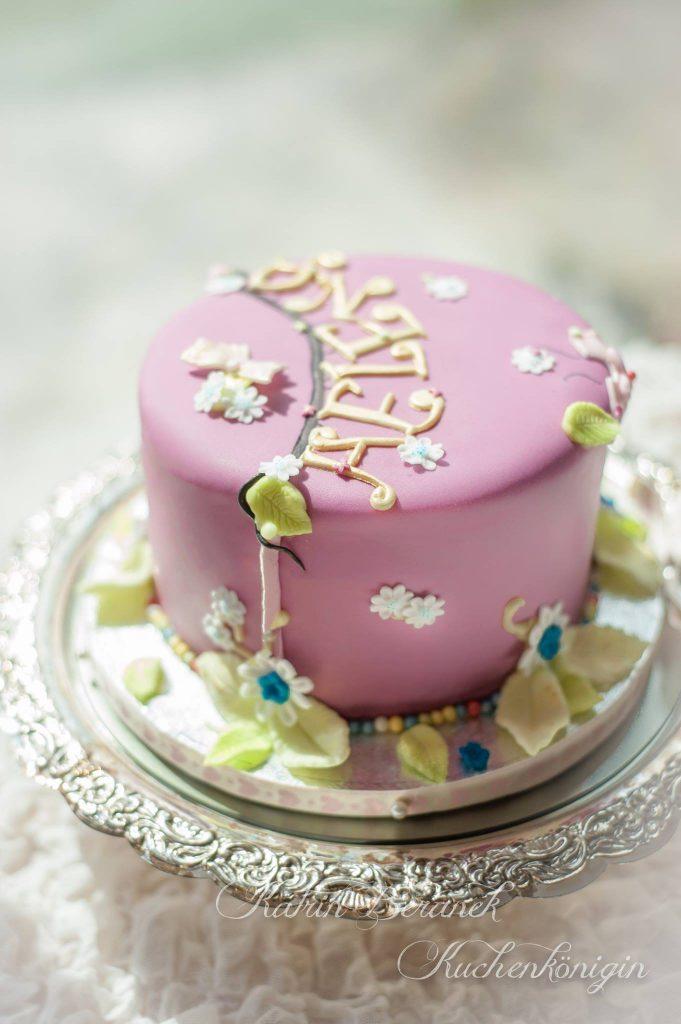 Birthday Taufe Girl Baby Mädchen Torte Kuchen Himbeertorte Fondant rosa flieder sweet