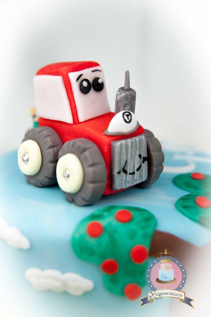 Susse Bauernhoftorte Kleiner Roter Traktor Fondant Tutorial