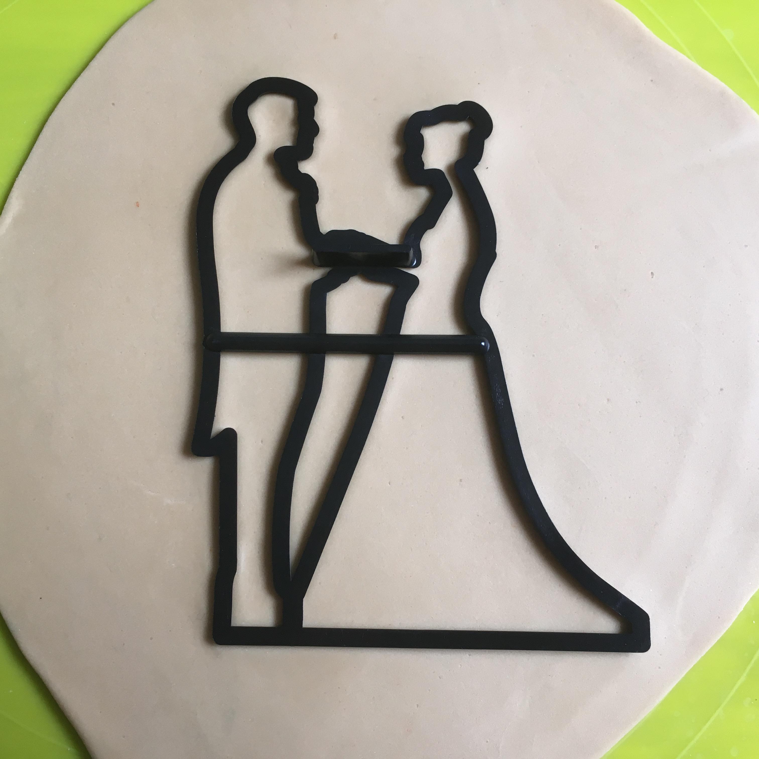 Romantic Gold Cake Topper Brautpaar Hochzeit Hochzeitstorte Scherenschnitt Schattenriss